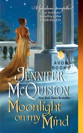 book cover, Moonlight on My Mind by Jennifer McQuiston, depicting a white pillared portico with white woman in a yellow dress falling off her shoulders, in the moonlight