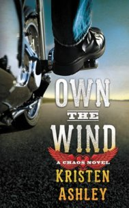 book cover, Own the Wind by Kristen Ashley, depicts chrome and tire of a motorcyle and motorcycle boot from extreme low vantage point, with wide shot of open highway