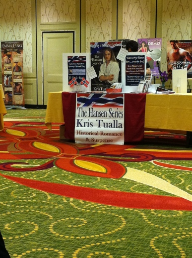 Promotional table top display for Norwegian historical romance author Kris Tualla