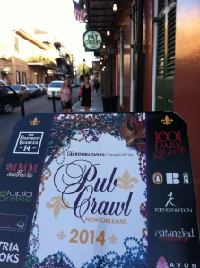 photo of RT pub crawl logo fan and street outside Pat O'Brien's bar.